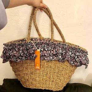C&C California hand woven with straw bag floral